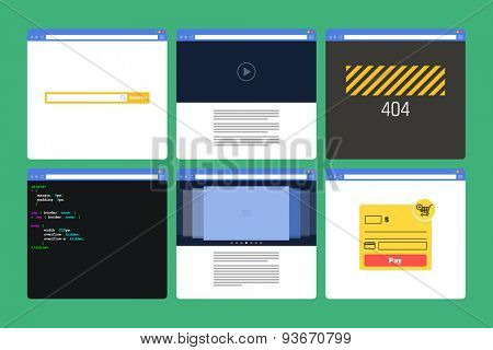 Set of Flat Style browser windows with content. Page 404, page code, form paymen, photo slideshow, search bar, video player