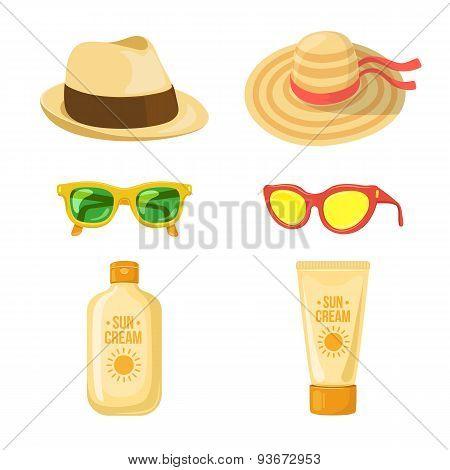 Sun balm, glasses and hats.