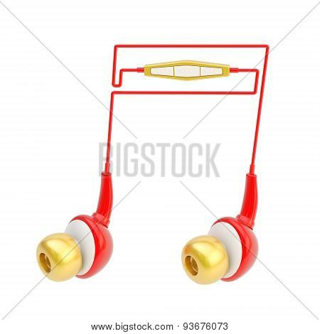 Note sign made of headphones