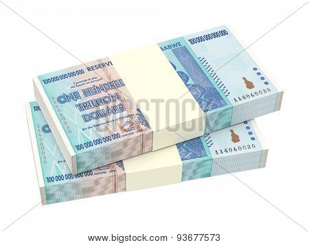 Zimbabwean money isolated on white background. Computer generated 3D photo rendering.
