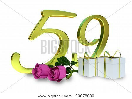 fifty-first birthday concept with pink roses - 59th