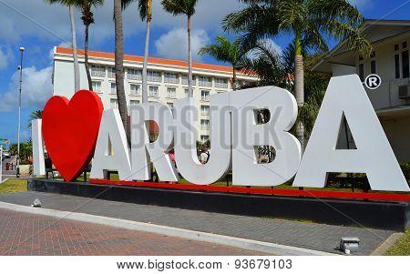 I Love Aruba landmark sign