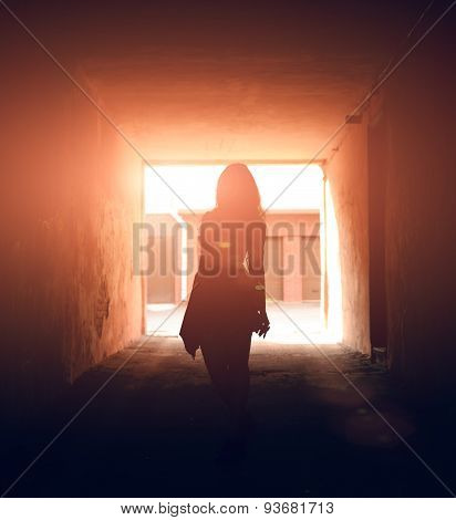 Person In Dark Tunnel