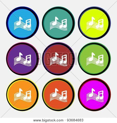 Musical Note, Music, Ringtone Icon Sign. Nine Multi Colored Round Buttons. Vector