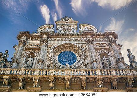 Facade of Basilica di Santa Croce in Lecce, Italy