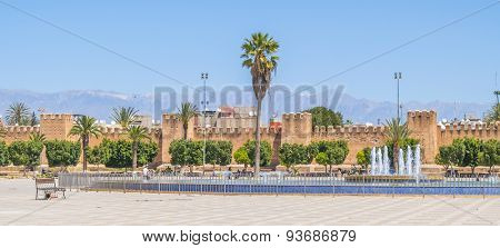 TAROUDANT, MOROCCO, APRIL 9, 2015: Big fountain on