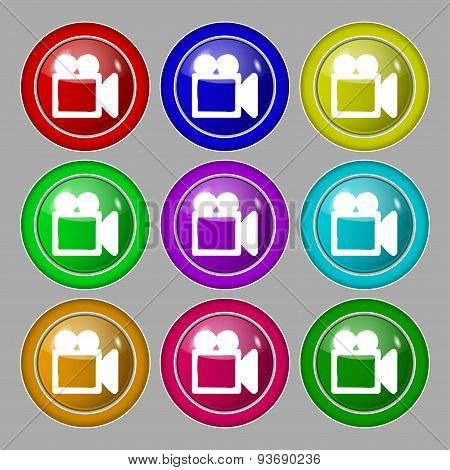Camcorder Icon Sign. Symbol On Nine Round Colourful Buttons. Vector