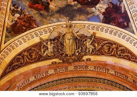 Dome Angel Statue Frescos San Francisco El Grande Royal Basilica Madrid Spain