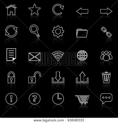 Tool Bar Line Icons With Reflect On Black