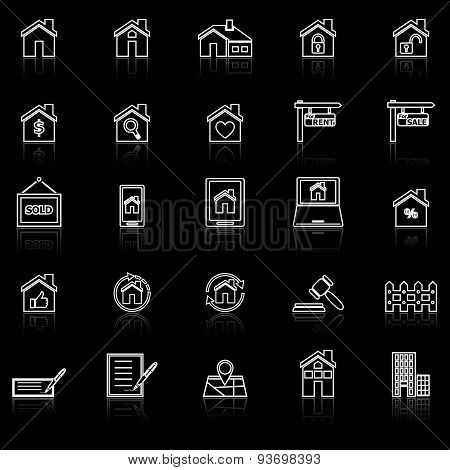 Real Estate Line Icons With Reflect On Black