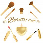 Ffashion cosmetic brushes, mascara, lipgloss and perfume bottle. Luxurious and elegant set for website, digital scrapbook projects and spa or beauty salon design. Separate elements could be used as icons. poster