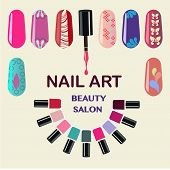 Vector Set of colorful nail polish bottles. Nails art beauty salon background - Illustration poster