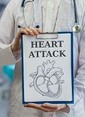Doctor holds clipboard with drawing to explain heart attack poster