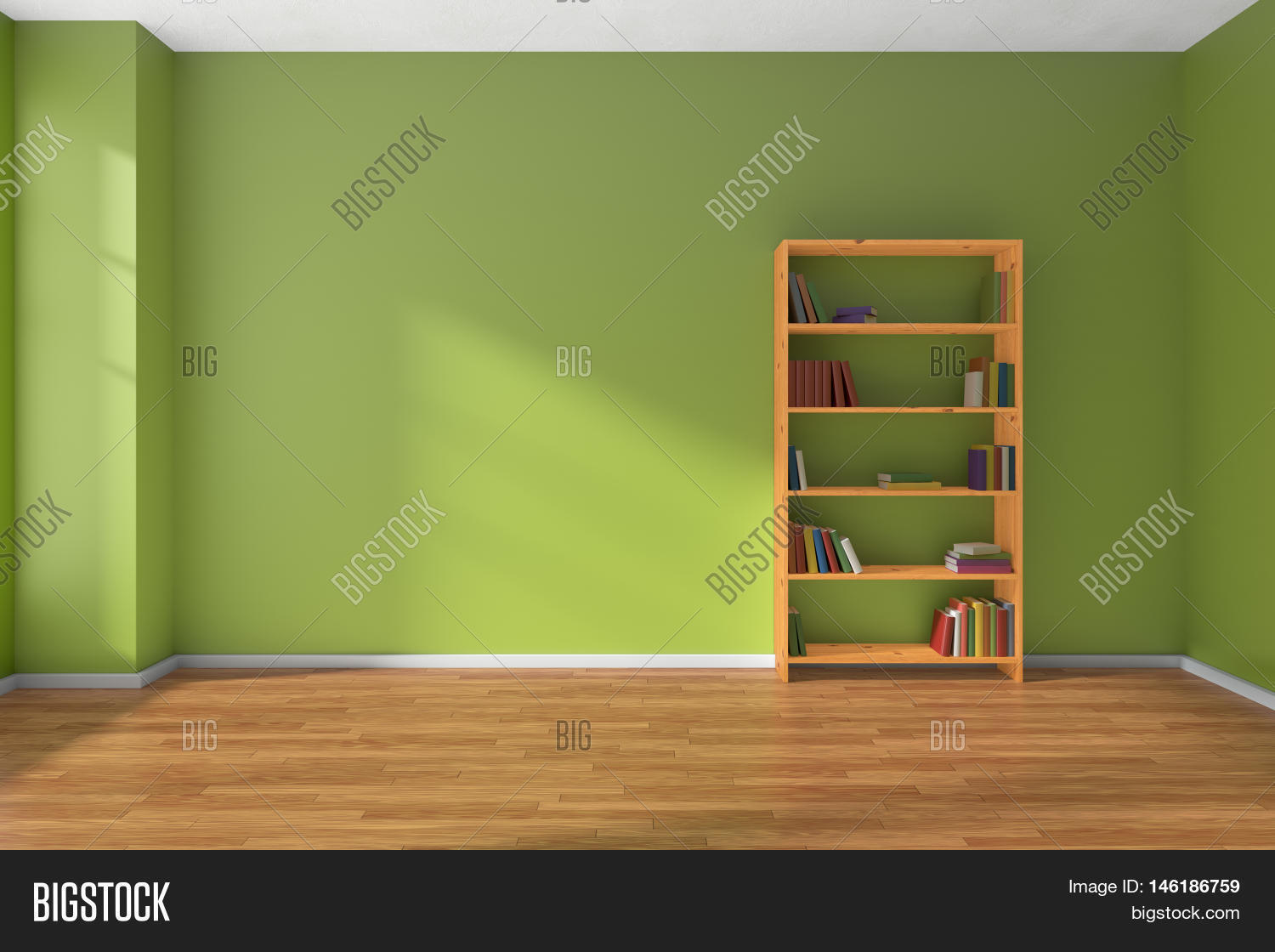 Empty Room Green Wall Image Photo Free Trial
