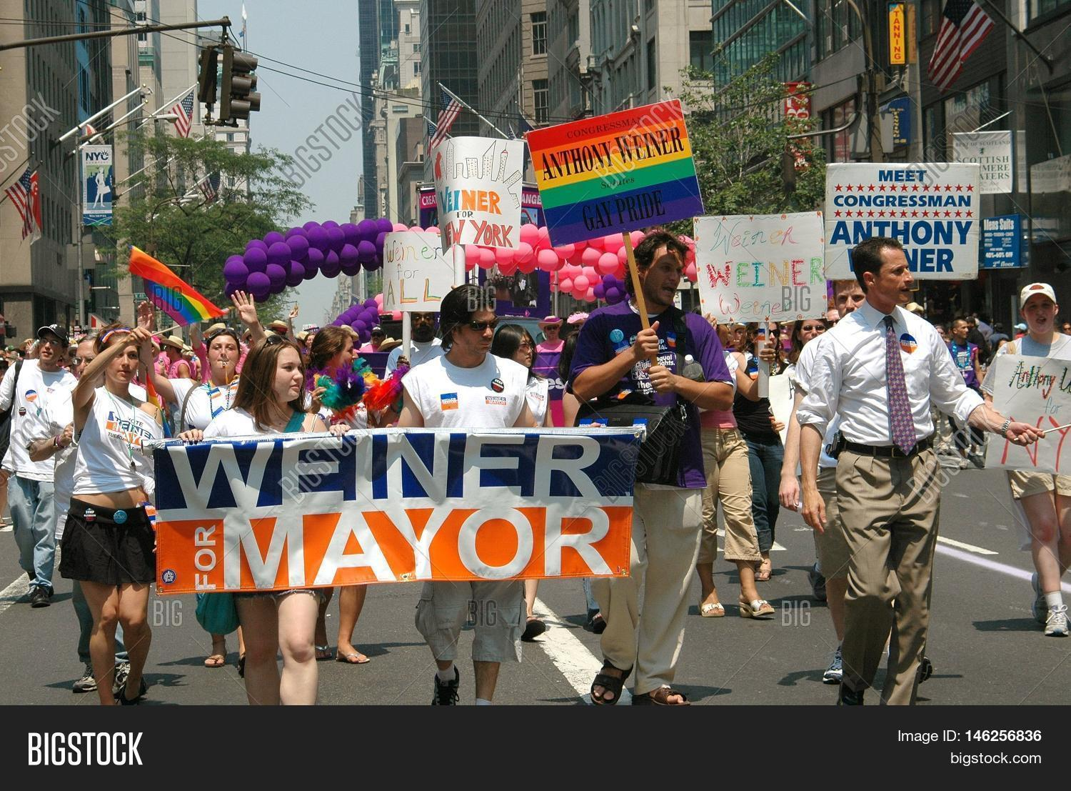 New York City - June 25 2005: U.S. Congressman Anthony Weiner (on right with