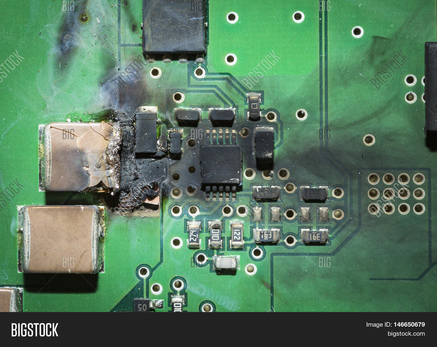 Burned Electronic Smd Image Photo Free Trial Bigstock Printed Circuit Board Royalty Stock Photography Pcb After A Short