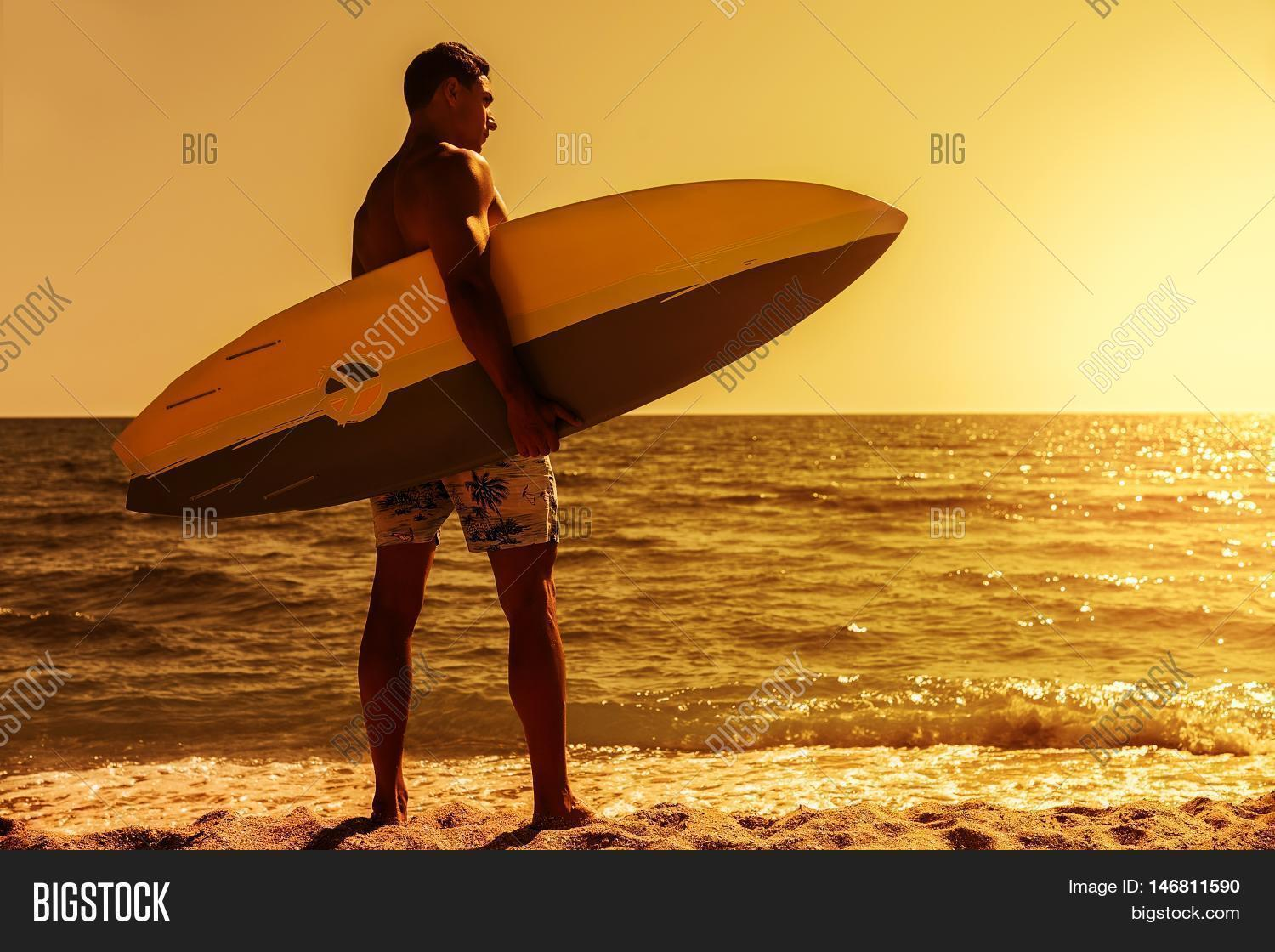 Surfer Man On Beach Image Photo Free Trial Bigstock