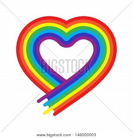 Vector heart rainbow symbol in flat style isolated. Homosexual love tolerance sign. Lgbt community concept. Multicolor shape. Rainbow color. Free lifestyle