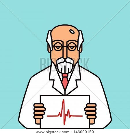 Physician in glasses holding cardiogram. Isolated vector personage.