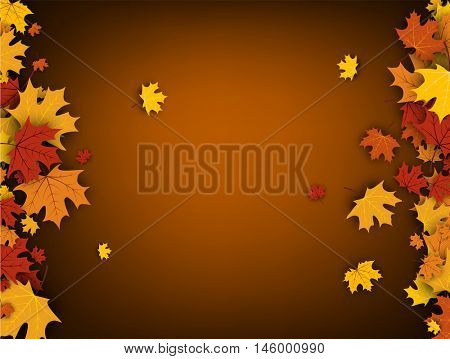 Autumn ocher background with golden maple leaves. Vector paper illustration.