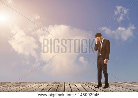 businessman feel sad and look down