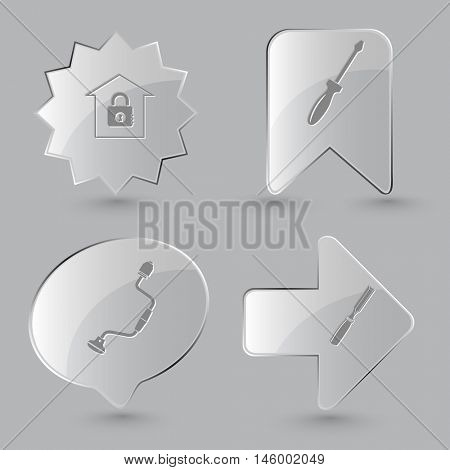 4 images: bank, screwdriver, hand drill, chisel. Industrial tools set. Glass buttons on gray background. Vector icons.