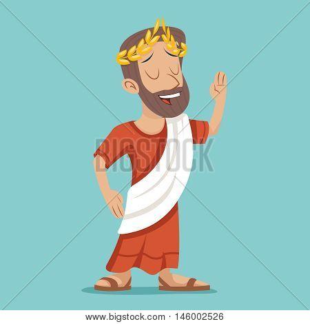 Greek Roman Retro Vintage Businessman Cartoon Character Icon Stylish Background Design Vector Illustration