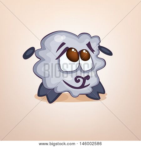 Illustration cartoon sheep sticker emoticon with embarrassed emotion for site, infographics, video, animation, websites, e-mails, newsletters, reports, comics icon logo symbol