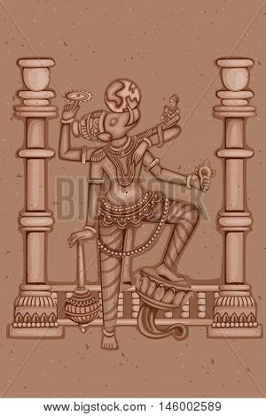 Vector design of Vintage statue of Indian Lord Varaha sculpture one of avatar from the Dashavatara of Vishnu engraved on stone