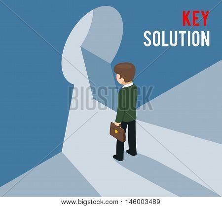 Key solution concept. Businessman entering keyhole. Access, entrance, enter for Business. Vector illustration