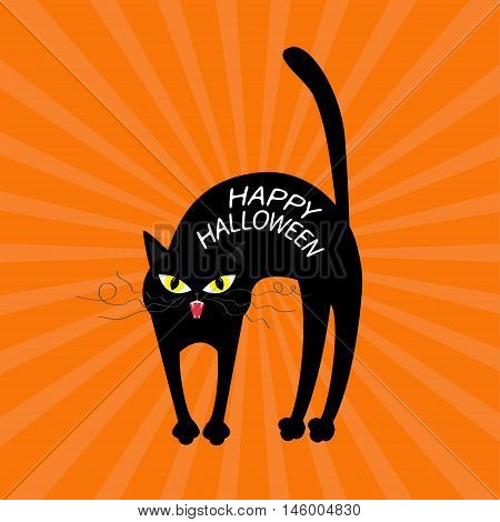 Cat arch back. Happy Halloween greeting card. Yellow eyes fangs curl moustaches whisker. Funny cartoon character. Isolated. Orange sunburst starburst background. Flat design. Vector illustration