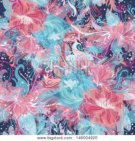 Seamless ornamental doodle sketch style background with watercolor effect and white lines in blue and pink colors