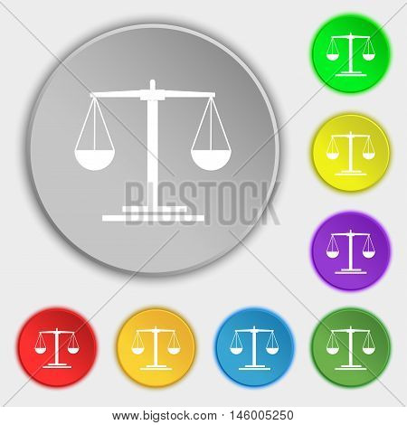 Scales Icon Sign. Symbol On Eight Flat Buttons. Vector
