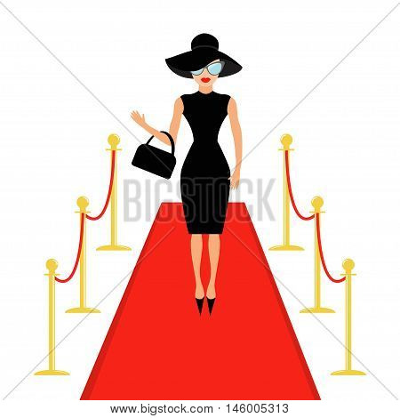 Red carpet and rope barrier golden stanchions turnstile Isolated Woman in black hat bag and sunglasses waving. Rich beautiful celebrity girl Fashion model White background Flat design Vector