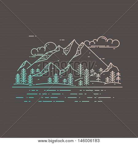 Vector flat linear landscape on dark background. Mountains, forest, sea and clouds illustration. Travel concept, beautiful nature exploration card