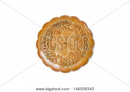 Mid-Autumn Festival mooncake isolated on white background