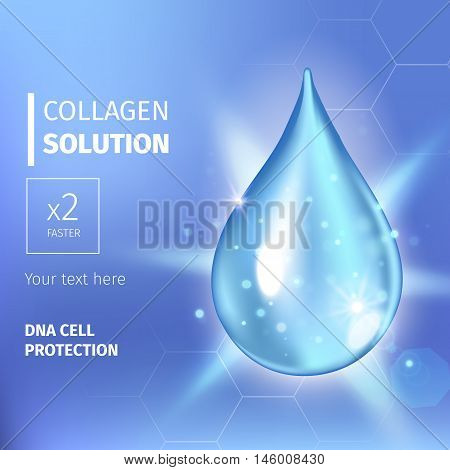 Vector illustration of Supreme collagen oil drop essence. Premium shining serum droplet. Collagen drop. Cosmetics solution