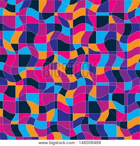 Bright vector endless pattern created with thin undulate stripes seamless netting composition.