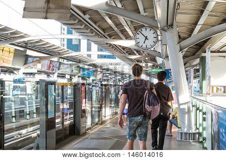 BANGKOK, THAILAND - 2 SEP - Unidentified people on BTS sky train platform in the morning 7 AM on September 2, 2016 in Bangkok, Thailand