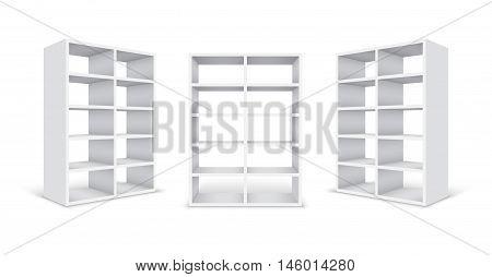 Empty white cabinets isolated on white background