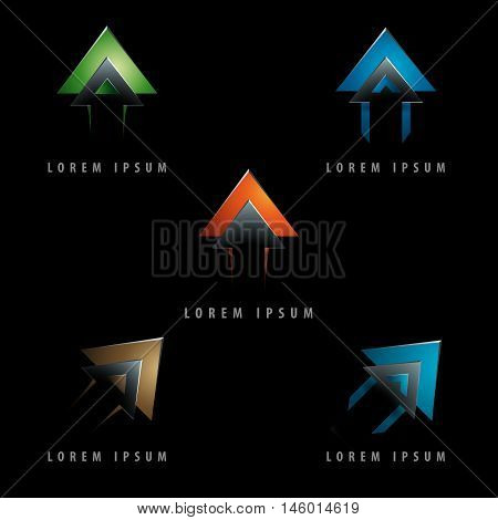 dynamic arrow shaped design logo element with emboss and 3d effect - negative