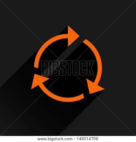Orange arrow icon reload refresh rotation reset repeat sign. Web pictogram with long shadow on black background. Simple solid plain flat style. Vector illustration graphic design 8 eps poster