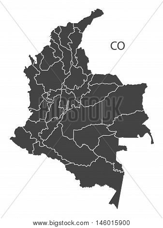 Colombia grey map with regions isolated vector high res