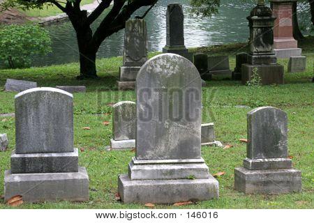 Gravestones By Lake