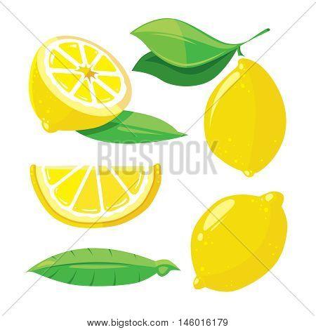 Fresh lemons with leaves, lemon slice isolated on white, vector set in cartoon style