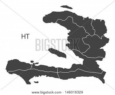 Haiti grey map with regions isolated vector high res