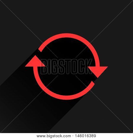 Red arrow icon reload refresh rotation reset repeat sign. Web pictogram with long shadow on black background. Simple solid plain flat style. Vector illustration graphic design 8 eps