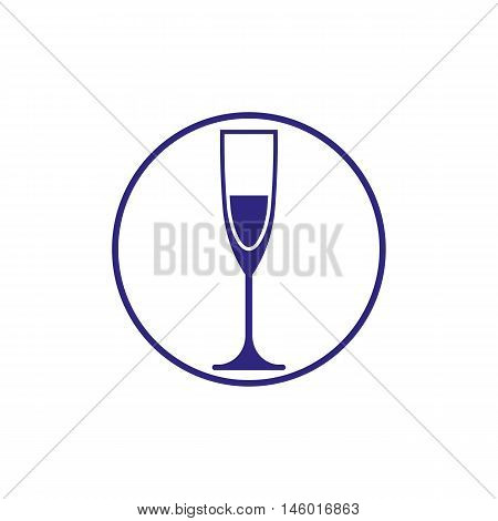 Classic champagne glass alcohol beverage theme illustration. Lifestyle graphic design element.