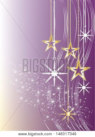 White and golden stars on purple background