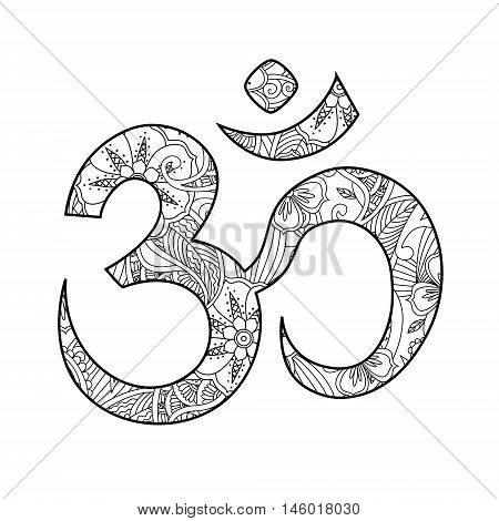 Om, or Aum sign ornated in henna tatoo mehendi style isolated on white background. Symbol of Hinduism. Can be used like print or antistress coloring book for adult. Art vector illustration.